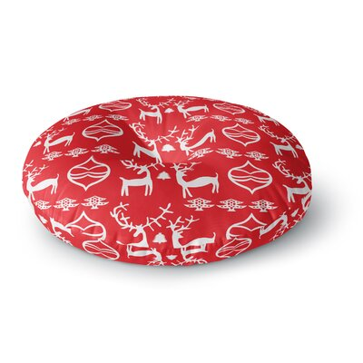 Miranda Mol Antler Fun Red Holiday Round Floor Pillow Size: 26 x 26