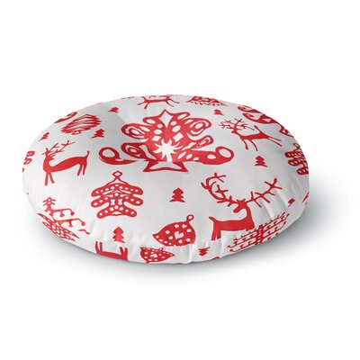 Miranda Mol Frosted Landscape White Holiday Round Floor Pillow Size: 26 x 26