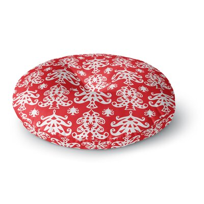 Miranda Mol Ornate Trees Red Holiday Round Floor Pillow Size: 23 x 23