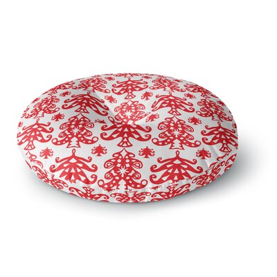 Miranda Mol Ornate Trees White Holiday Round Floor Pillow Size: 23 x 23