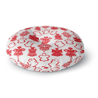 Miranda Mol Angels Singing White Holiday Round Floor Pillow Size: 26 x 26