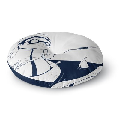 Matthew Reid 5; in Navy Blue Nautical llustration Round Floor Pillow Size: 23 x 23