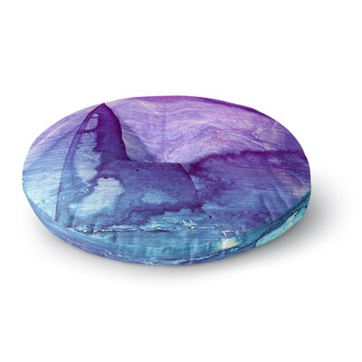 Malia Shields Blues Abstract Series 2 Round Floor Pillow Size: 26 x 26