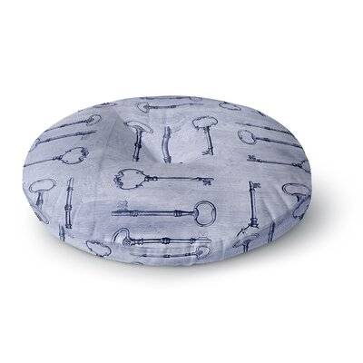 Marianna Tankelevich Secret Keys Blue Round Floor Pillow Size: 23 x 23