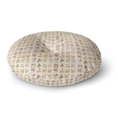 Marianna Tankelevich Cute Birds Grid Round Floor Pillow Size: 26 x 26