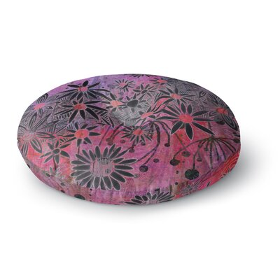 Marianna Tankelevich Black Flowers Round Floor Pillow Size: 23 x 23
