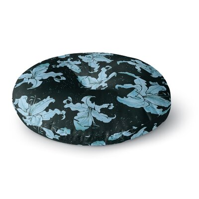 Marianna Tankelevich Blue Lilies Illustration Round Floor Pillow Size: 26 x 26