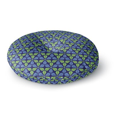 Nick Atkinson Infinite Flowers Blue Round Floor Pillow Size: 26 x 26