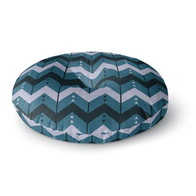 Nick Atkinson Chevron Dance Blue Round Floor Pillow Size: 26 x 26