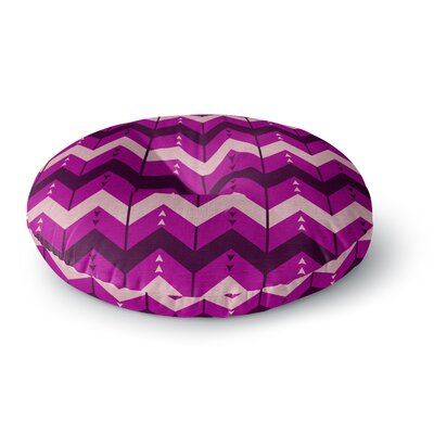 Nick Atkinson Chevron Dance Purple Round Floor Pillow Size: 23 x 23