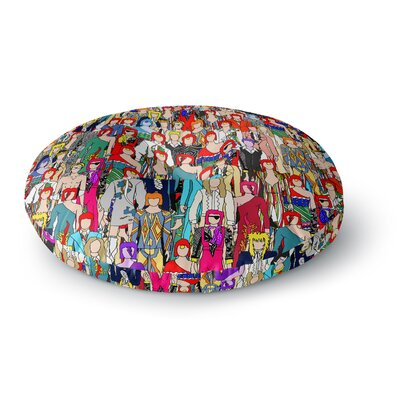 Notsniw Wheres Bowie? Round Floor Pillow Size: 26 x 26