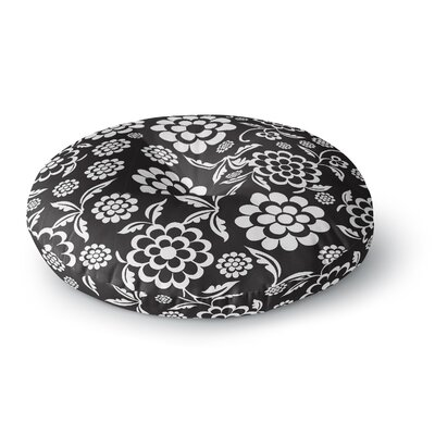 Nicole Ketchum Cherry Floral Black Round Floor Pillow Size: 26 x 26