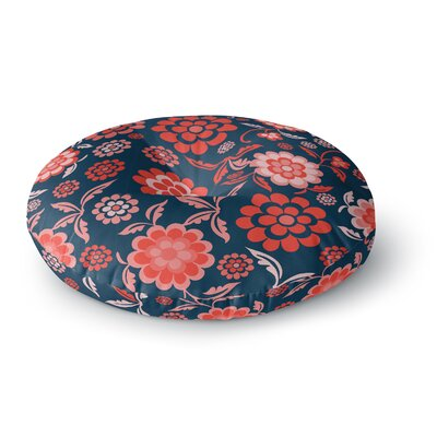 Nicole Ketchum Cherry Floral Midnight Round Floor Pillow Size: 23 x 23