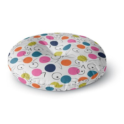 Neelam Kaur Colorful Polka Berries Digital Round Floor Pillow Size: 23 x 23