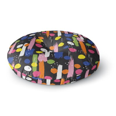 Neelam Kaur Brushstrokes - Pantone Rev it Up Digital Round Floor Pillow Size: 23 x 23