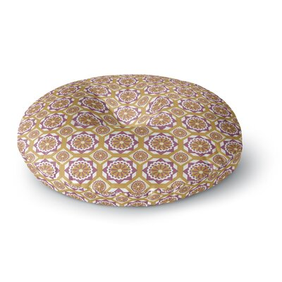 Neelam Kaur Purple Gold Floral Octagon Digital Round Floor Pillow Size: 26 x 26