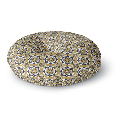 Neelam Kaur Blue Floral Octagons Digital Round Floor Pillow Size: 23 x 23