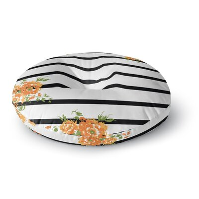NL Designs Orange Floral Stripes Floral Round Floor Pillow Size: 26 x 26