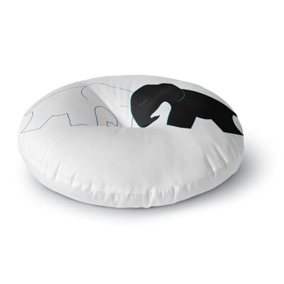 NL Designs Black and White Elephant Love Round Floor Pillow Size: 23 x 23