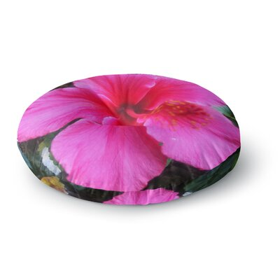 NL Designs Tropical Pink Hibiscus Floral Round Floor Pillow Size: 26 x 26