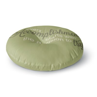 NL designs Accomplishment Green Typography Round Floor Pillow Size: 23 x 23