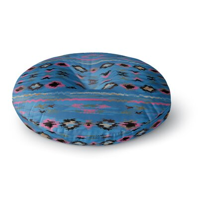 Nina May Navano Blue Tribal Round Floor Pillow Size: 26 x 26