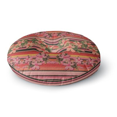 Nina May Peach Hibiscus Stripe Round Floor Pillow Size: 26 x 26
