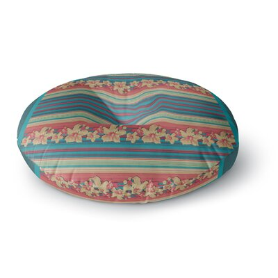 Nina May Mahalo Denim Stripe Floral Round Floor Pillow Size: 23 x 23