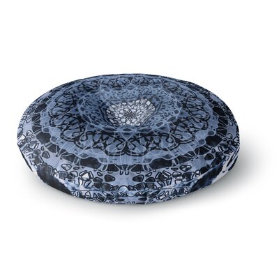 Nina May Tie-Dye Mandala Jain Blue Watercolor Round Floor Pillow Size: 26 x 26