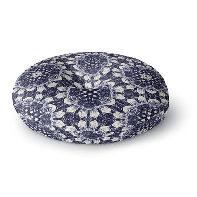 Nina May Indigo Clematis Mixed Media Round Floor Pillow Size: 23 x 23