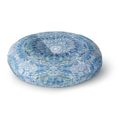 Nina May Blue Lace Mandalas Mixed Media Round Floor Pillow Size: 23 x 23