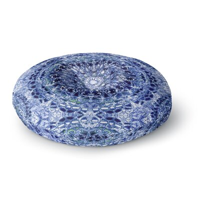 Nina May Indigo Lace Mandalas Mixed Media Round Floor Pillow Size: 23 x 23