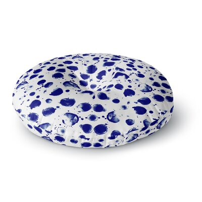 Nina May Navy Water Pebble Painting Round Floor Pillow Size: 26 x 26