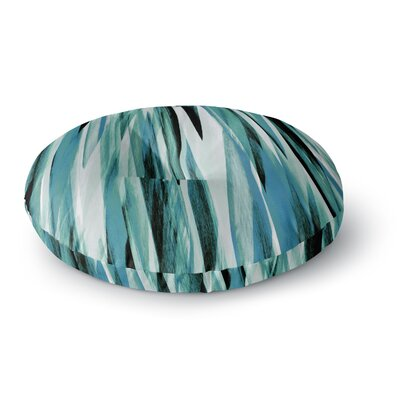 Nina May Teal Brush Strokes Painting Round Floor Pillow Size: 23 x 23