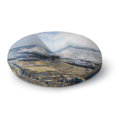 Nick Nareshni Wave Against Rocks Round Floor Pillow Size: 23 x 23