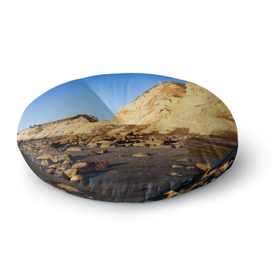 Nick Nareshni Beach Cliffside Rocks Round Floor Pillow Size: 26 x 26
