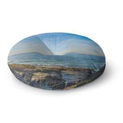 Nick Nareshni Blue Sky Over the Ocean Coastal Round Floor Pillow Size: 23 x 23