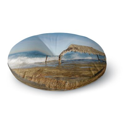 Nick Nareshni Crashing Waves Near Hut Round Floor Pillow Size: 23 x 23