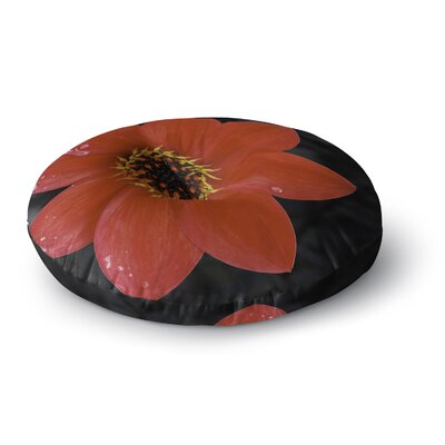 Nick Nareshni Wet Red Flower Petals Round Floor Pillow Size: 23 x 23