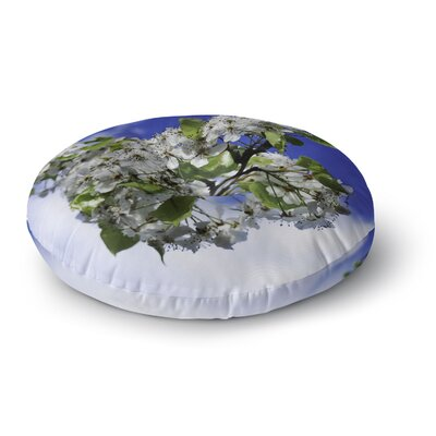 Nick Nareshni Cherry Blossoms and Blue Sky Round Floor Pillow Size: 23 x 23