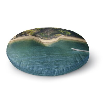 Nick Nareshni Lonely Boat on Coast Photography Round Floor Pillow Size: 26 x 26
