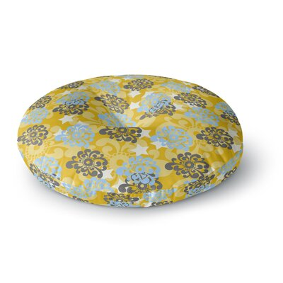Nandita Singh Blue and Yellow Flowers Floral Round Floor Pillow Size: 26 x 26