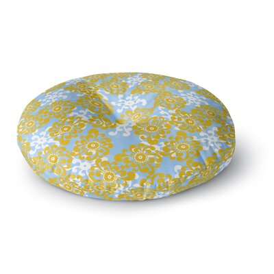 Nandita Singh Blue and Yellow Flowers Alternate Floral Round Floor Pillow Size: 23 x 23