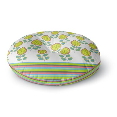 Nandita Singh Yellow Leaves Bright Floral Round Floor Pillow Size: 26 x 26