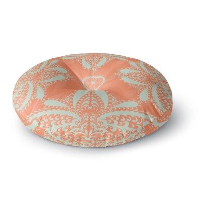 Nandita Singh Motifs in Peach Floral Round Floor Pillow Size: 26 x 26