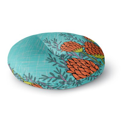 Nandita Singh Red Flowers Round Floor Pillow Size: 26 x 26
