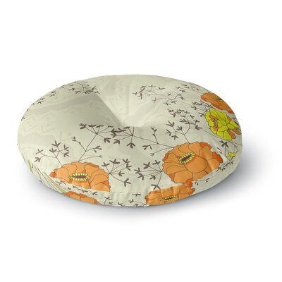Nandita Singh Flowers and Twigs Round Floor Pillow Size: 23 x 23