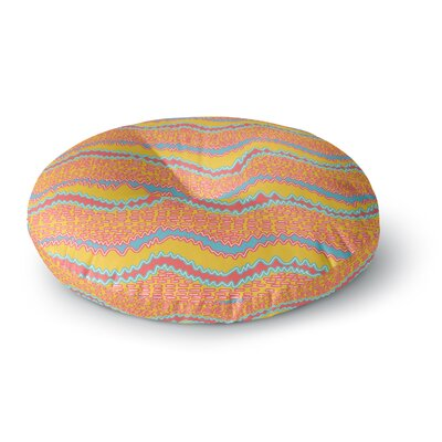 Nandita Singh Pink Waves Round Floor Pillow Size: 23 x 23