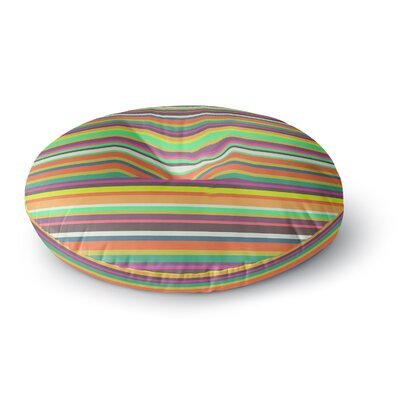 Nandita Singh Pattern Play Stripes Rainbow Round Floor Pillow Size: 23 x 23