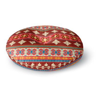 Nandita Singh Borders Red Round Floor Pillow Size: 23 x 23